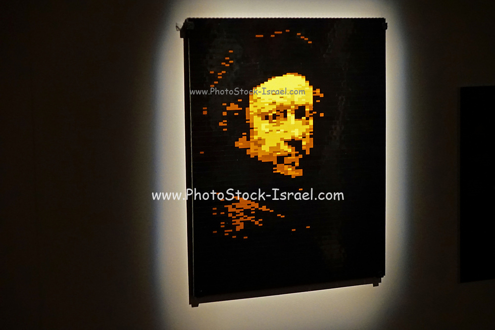 portrait of Rembrandt from Lego building blocks at the Holon Children's museum. Holon, Israel