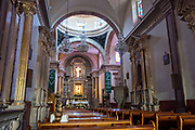 Interior view of the Holy Cross Church and Franciscan Convent also called the Templo y Convento de la Santa Cruz on Founders Plaza in the old colonial section of Santiago de Queretaro, Queretaro State, Mexico.