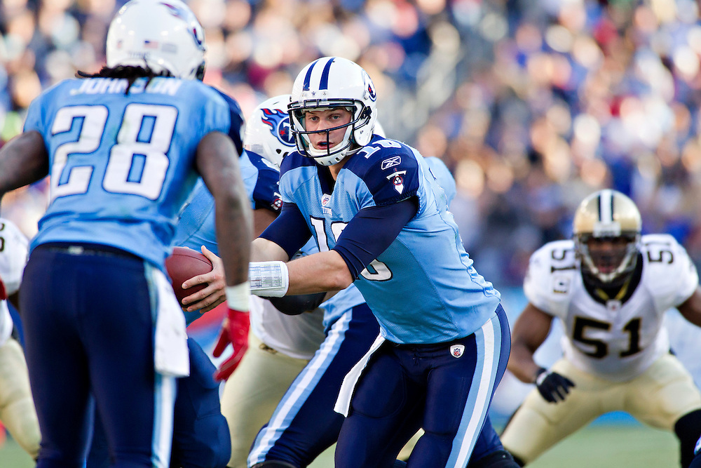 NASHVILLE, TN - DECEMBER 11:   Jake Locker #10 of the Tennessee Titans looks to make a hand off against the New Orleans Saints at LP Field on December 11, 2011 in Nashville, Tennessee.  The Saints defeated the Titans 22-17.  (Photo by Wesley Hitt/Getty Images) *** Local Caption *** Jake Locker