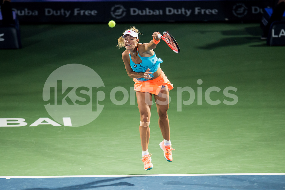 Angelique Kerber of Germany serves during the Dubai Duty Free Tennis Championship at the Dubai International Tennis Stadium, Dubai, UAE on 23 February 2017. Photo by Grant Winter.