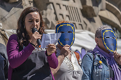May 5, 2019 - Barcelona, Catalonia, Spain - The spokesperson of the 5M is seen reading the manifesto during the demonstration against racism and fascism..More than 200 social groups asked for 5M a ''hug of the people''. The ''hug'' of the 5M aims to combat political ideas of refusal to immigration and refugees. Barcelona, like other European capitals, has participated in a rally that took place at the base of the Columbus monument where the demonstrators displayed banners. After the reading of the manifesto the spiral has been released with the symbolic embrace of the peoples. (Credit Image: © Paco Freire/SOPA Images via ZUMA Wire)