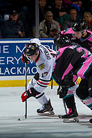 KELOWNA, CANADA - OCTOBER 21: Leif Mattson #28 of the Kelowna Rockets checks Alex Overhardt #17 of the Portland Winterhawks after the face off on October 21, 2017 at Prospera Place in Kelowna, British Columbia, Canada.  (Photo by Marissa Baecker/Shoot the Breeze)  *** Local Caption ***