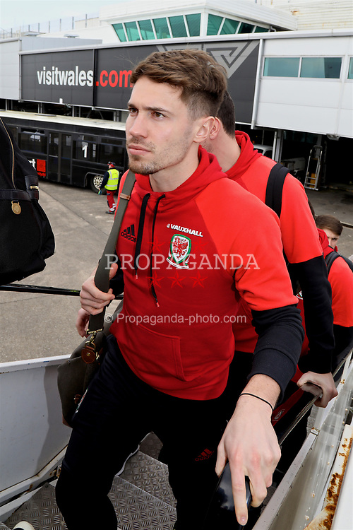 CARDIFF, WALES - Thursday, March 23, 2017: Wales' Tom Bradshaw boards the team plane as the squad depart Cardiff Airport to fly to Dublin ahead of the 2018 FIFA World Cup Qualifying Group D match against Republic of Ireland. (Pic by David Rawcliffe/Propaganda)