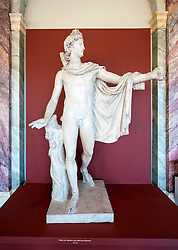 Statue of Apollo at Gemäldegalerie Alte Meister or Zwinger Museum in Dresden, Germany .Editorial Use Only.