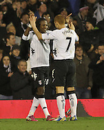 Picture by David Horn/Focus Images Ltd +44 7545 970036.30/01/2013.Mladen Petric of Fulham celebrates scoring Fulham's second goal with Steven Sidwell of Fulham looks on during the Barclays Premier League match at Craven Cottage, London.