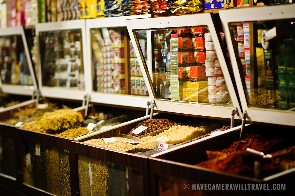 Spices for sale at a spice and ingredients store in the Spice Bazaar (also known as the Egyption Bazaar) in Istanbul, Turkey.