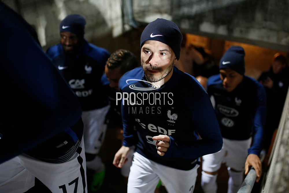 France's defender Christophe Jallet enters the pitch during the FIFA World Cup 2018 qualifying football match, Group A, between Luxembourg and France on March 25, 2017 at Josy Barthel stadium in Luxembourg - Photo Benjamin Cremel / ProSportsImages / DPPI