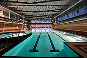 Indoor swimming pool for an architectural photo shoot in Grand Prairie, Texas.