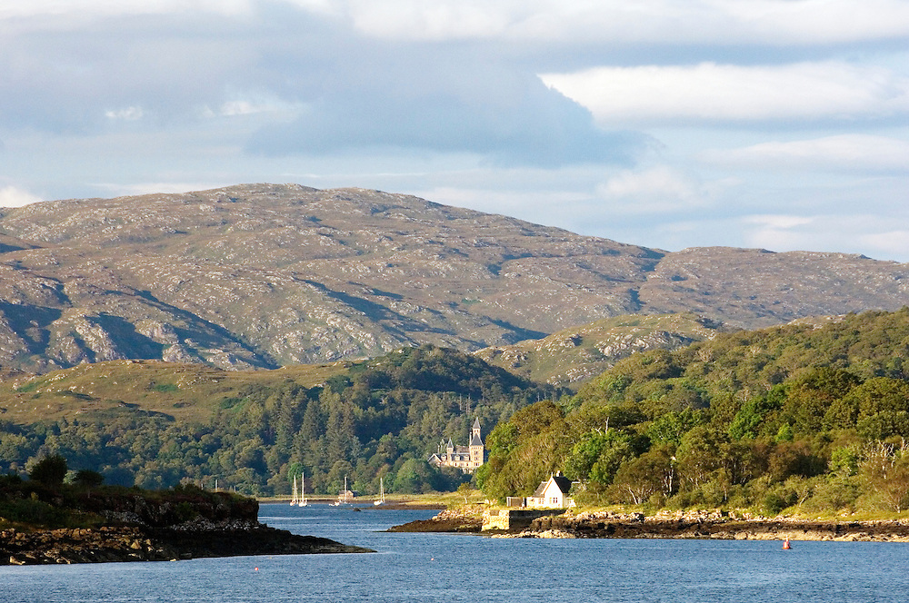North up Loch Aline from the Sound of Mull to 19th C Ardtornish House in the Morvern region of west Scotland, UK