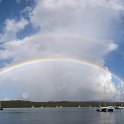 Double rainbow in Neiafu harbor, Vava'u, Kingdom of Tonga