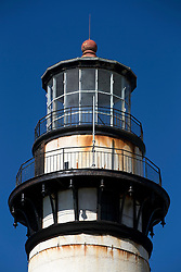 Detailed view of the dome and optic section of Pigeon Point Lighthouse, Pescadero, California, United States of America