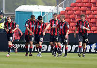 Photo: Leigh Quinnell.<br /> AFC Bournemouth v Swansea City. Coca Cola League 1. 14/04/2007. Marc Wilson(3rd left) celebrates his goal with his Bournemouth team mates.