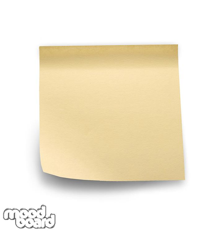 Yellow note sticks on white background