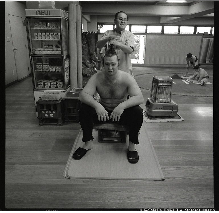 Bulgarian born  Kotooshuu, real name Kaloyan Stefanov Mahlyanov, who is the sport's top-ranked Western wrestler, and one of Sado Gatake's biggest earners..Morning  workout session in the Sado Gatake stable, 30 minutes west of Tokyo, .