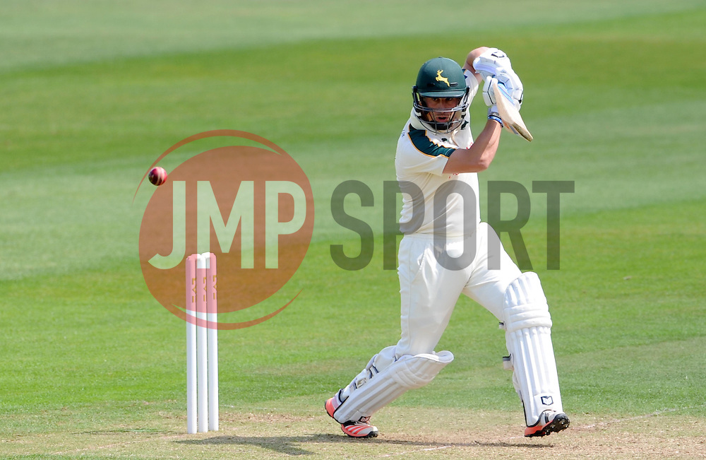 Nottinghamshire's Steven Mullaney drives the ball off the bowling of Somerset's Alfonso Thomas. - Photo mandatory by-line: Harry Trump/JMP - Mobile: 07966 386802 - 14/06/15 - SPORT - CRICKET - LVCC County Championship - Division One - Day One - Somerset v Nottinghamshire - The County Ground, Taunton, England.