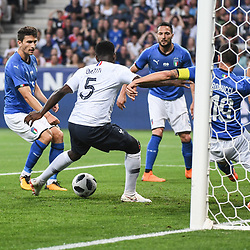 Samuel Umtiti of France scores a goal during the International Friendly match between France and Italy at Allianz Riviera Stadium on June 1, 2018 in Nice, France. (Photo by Anthony Dibon/Icon Sport)