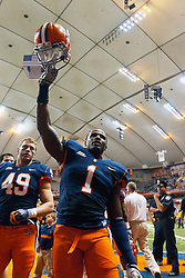 Oct 21, 2011; Syracuse NY, USA;  Syracuse Orange safety Phillip Thomas (1) celebrates after the game against the West Virginia Mountaineers at the Carrier Dome.  Syracuse defeated West Virginia 49-23. Mandatory Credit: Jason O. Watson-US PRESSWIRE