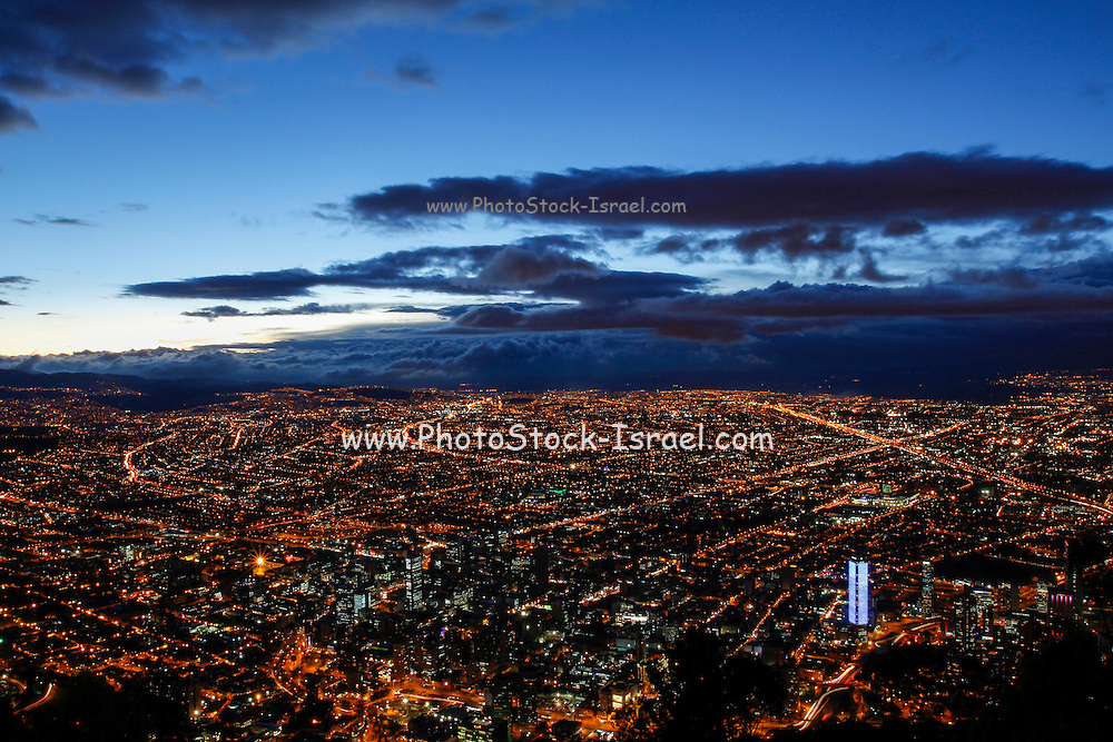 Sunset over Bogota, Colombia cityscape as seen from Monserrate