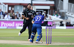 Azhar Sagar of Surrey CCC celebrates taking the wicket of Gloucestershire's Gareth Roderick - Mandatory byline: Robbie Stephenson/JMP - 07966 386802 - 19/09/2015 - Cricket - Lord's Cricket Ground - London, England - Gloucestershire CCC v Surrey CCC - Royal London One-Day Cup Final
