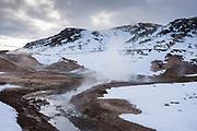 Hot springs, fumaroles and clay mudpots at Seltun Geothermal area at Krysuvik - Seltunshverir - Krysuvíkurhverir with minerals sediments on Reykjanes peninsula, Iceland