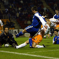 St Johnstone v Livingston..  05.11.02<br />Javier Sanchez Broto stops a shot by Chris Hay<br /><br />Pic by Graeme Hart<br />Copyright Perthshire Picture Agency<br />Tel: 01738 623350 / 07990 594431