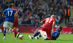 LONDON, ENGLAND - Saturday, April 14, 2012: Liverpool's Martin Skrtel appears to stamp on Everton's Nikica Jelavic during the FA Cup Semi-Final match at Wembley. (Pic by David Rawcliffe/Propaganda)