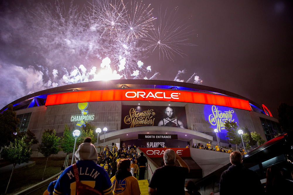 Fireworks following Game 2 of the NBA Western Conference semifinals between the Golden State Warriors and New Orleans Pelicans at Oracle Arena, Tuesday, May 1, 2018, in Oakland, Calif. The Warriors won 121-116.