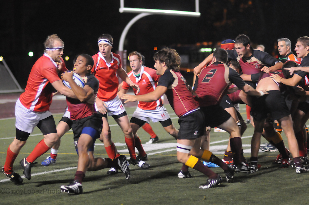 The Concordia men's rugby team play their crosstown rivals McGill at Loyola field. McGill won 18-6. (Published in The Concordian. September 2010).