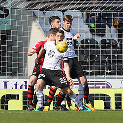 Darren Barr brings down Stephen McGinn in the box  during the St Mirren v Dumbarton Scottish Championship 08 April 2017<br /> <br /> <br /> <br /> <br /> <br /> (c) Andy Scott | SportPix.org.uk