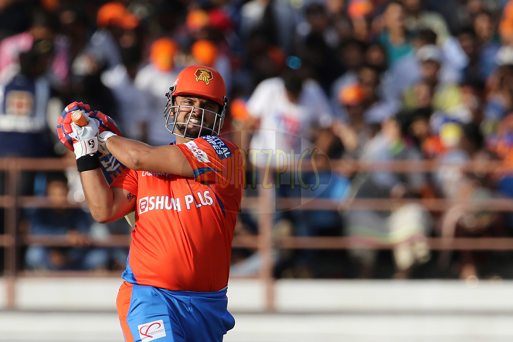 Gujarat Lions captain Suresh Raina plays a shot during match 26 of the Vivo 2017 Indian Premier League between the Gujarat Lions and the Kings XI Punjab held at the Saurashtra Cricket Association Stadium in Rajkot, India on the 23rd April 2017<br /> <br /> Photo by Vipin Pawar - Sportzpics - IPL