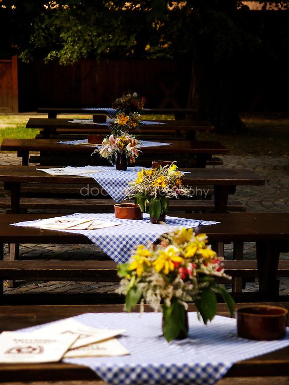 Restaurant in the Open air museum in Roznov Pod Radhostem, Czech Republic.