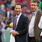 Adam Grossman, Senior Vice President of Marketing and Development for the Red Sox is seen on the field during Fenway Park's Jewish Heritage Night at the game between the Atlanta Braves and the Boston Red Sox at Fenway Park on May 29, 2014 in Boston, Massachusetts. (Photo by Elan Kawesch/Times of Israel)