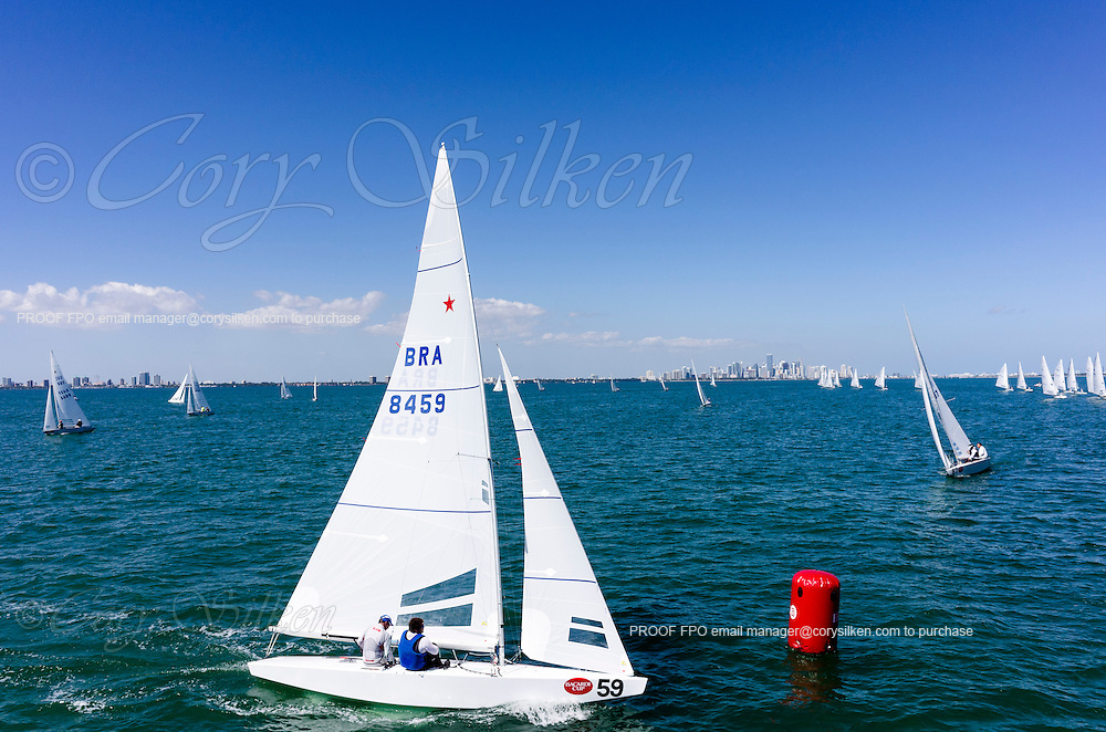 8459 Star Class sailing in Bacardi Miami Sailing Week, day one.