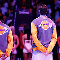 09 March 2014: Los Angeles Lakers center Pau Gasol (16) is seen during the national anthem prior to the Los Angeles Lakers 114-110 victory over the Oklahoma City Thunder at the Staples Center, Los Angeles, California, USA.