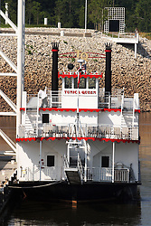 25 July 2005:   a tug boat pushes docked on the Mississippi River near Tunica Mississippi.