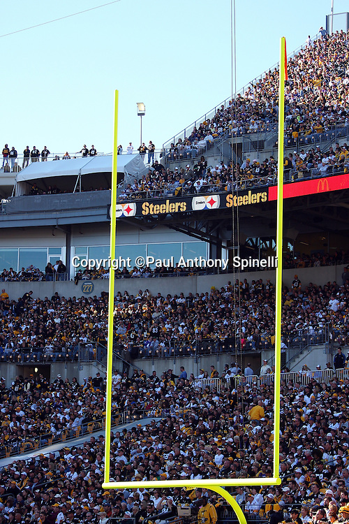 General view of the stadium interior framed with the west end zone goal post prior to the Pittsburgh Steelers NFL football game against the Minnesota Vikings, October 25, 2009 in Pittsburgh, Pennsylvania. The Steelers won the game 27-17. (©Paul Anthony Spinelli)