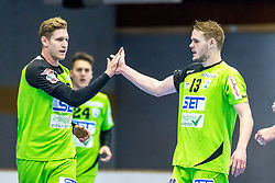 10.12.2017, BSFZ Suedstadt, Maria Enzersdorf, AUT, HLA, SG INSIGNIS Handball WESTWIEN vs Bregenz Handball, Hauptrunde, 16. Runde, im Bild Sebastian Frimmel (SG INSIGNIS Handball WESTWIEN), Olafur Bjarki Ragnarsson (SG INSIGNIS Handball WESTWIEN) // during Handball League Austria 16 th round match between SG INSIGNIS Handball WESTWIEN and Bregenz Handball at the BSFZ Suedstadt, Maria Enzersdorf, Austria on 2017/12/10, EXPA Pictures © 2017, PhotoCredit: EXPA/ Sebastian Pucher