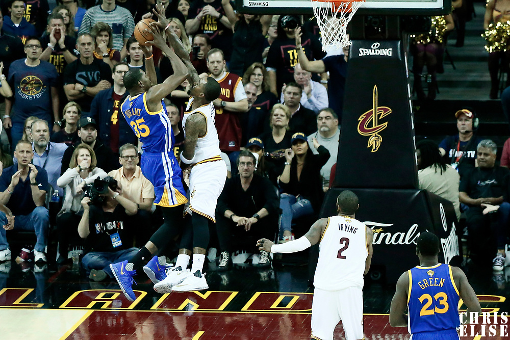07 June 2017: Golden State Warriors forward Kevin Durant (35) goes for the layup against Cleveland Cavaliers guard JR Smith (5) during the Golden State Warriors 118-113 victory over the Cleveland Cavaliers, in game 3 of the 2017 NBA Finals, at  the Quicken Loans Arena, Cleveland, Ohio, USA.