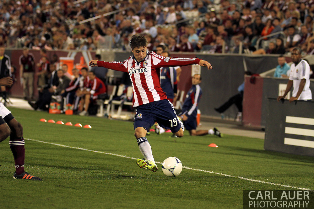 August 18th, 2012: Chivas USA defender/midfielder Jorge Villafana (19) attempts to cross the ball in front of the Colorado Rapids goal in the second half at Dick's Sporting Goods Park
