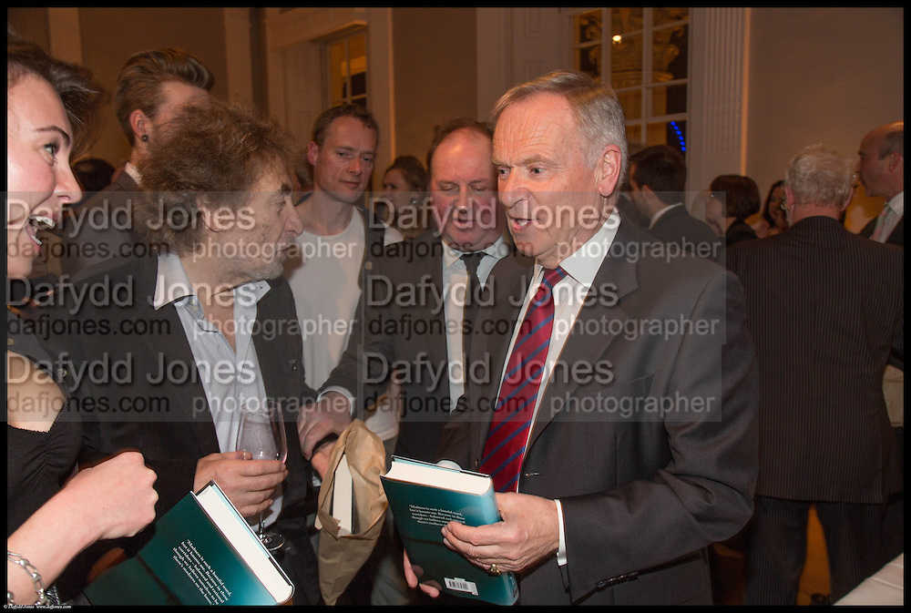 SARA GELFAND;; HOWARD JACOBSON; JAMES NAUGHTIE; LORD ARCHER; JEFFREY ARCHER, James Naughtie: The Madness of July published by Head of Zeus - book launch party, ICA, London. 25 February 2014.