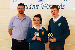 Sancta Maria College's Student Awards,.Emma Caulfield and Jack Beuler recieved the Art award from Tom O'Dowd, Art Teacher...Pic Conor McKeown