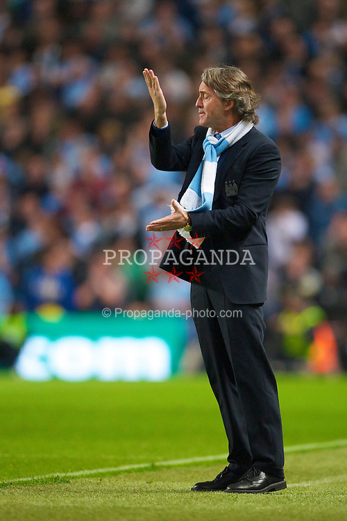 MANCHESTER, ENGLAND - Wednesday, May 5, 2010: Manchester City's manager Roberto Mancini during the Premiership match against Tottenham Hotspur at City of Manchester Stadium. (Photo by David Rawcliffe/Propaganda)