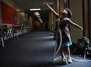 Newton, Ma 072308   Six-year old Jessica Leahey, who uses a respirator hooked up to her through a tracheotomy,  shows off her ballet moves while at summer camp at the Day Middle School in Newton on July 23, 2008. She suffers from  Moebius syndrome may  shows symptomsthat  may include:<br /> 	&bull;	Deformed tongue and jaw<br /> 	&bull;	Hand or foot deformities (one third or more of cases), such as club foot or missing fingers<br /> 	&bull;	Low muscle tone, meaning the child has trouble sitting or crawling<br /> 	&bull;	Swallowing or breathing problems (Essdras M Suarez/Boston Globe)/ Metro