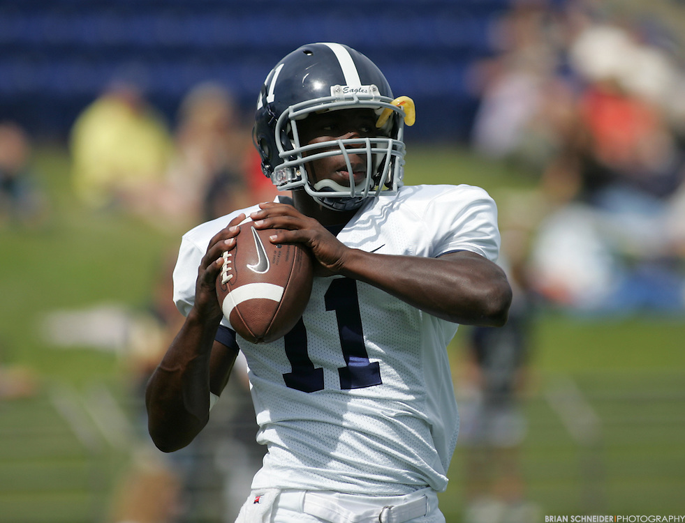 Sept 11, 2010; Annapolis, MD, USA; Georgia Southern Eagles quarterback Ezayi Youyoute (15) during warm-ups before the game against Navy Midshipmen at Navy-Marine Corp Memorial Stadium. Mandatory Credit: Brian Schneider-www.ebrianschneider.com