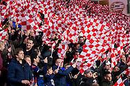 EINDHOVEN, PSV - CSKA Moskou, voetbal Champions League groepsfase, seizoen 2015-2016, 8-12-2015, Philips Stadion, veel sfeer in het stadion, vlaggen, supporters.