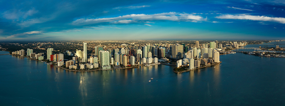 Aerial panorama of the Miami Skyline featuring Brickell waterfront and Brikell Key