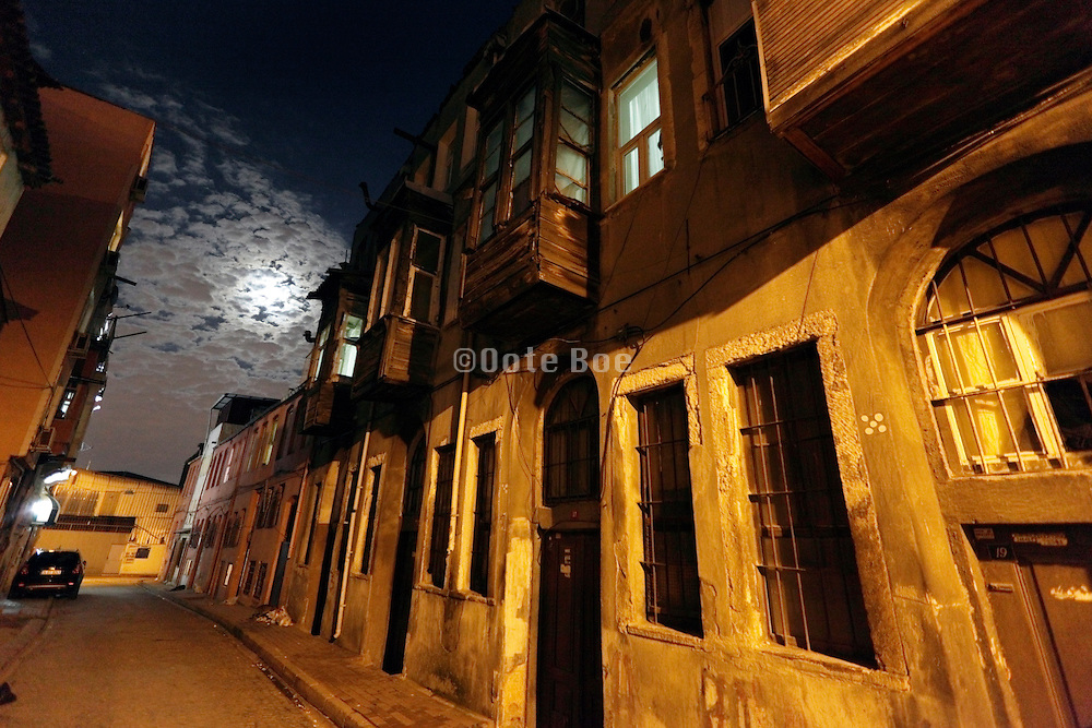 back street of the old town in Istanbul Sultanahmet at night