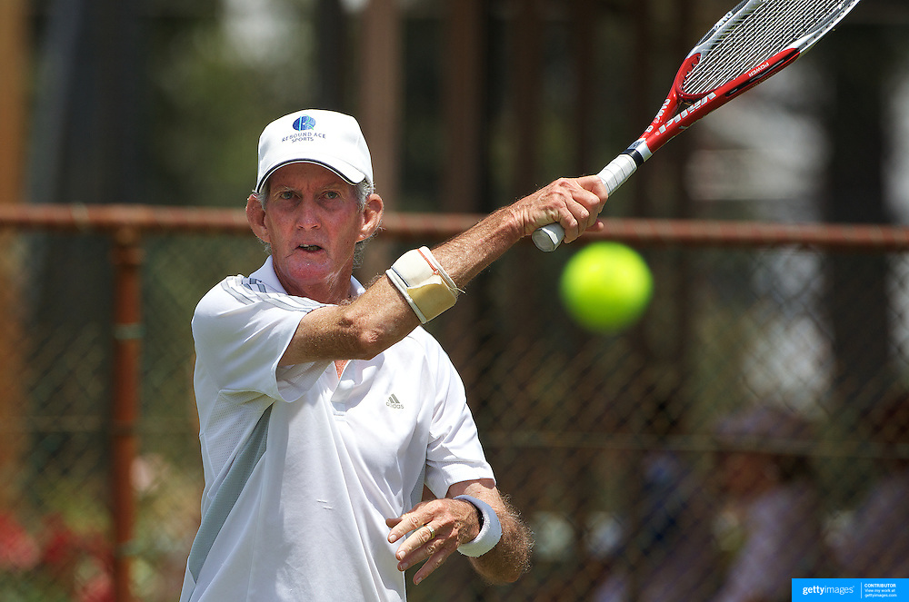 Dennis Bindon, Australia, in action in the 65 Mens Singles during the 2009 ITF Super-Seniors World Team and Individual Championships at Perth, Western Australia, between 2-15th November, 2009.
