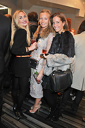 Left to right, ASHLEY WARWA, MARTHA WARD and CAROLINA GONZALEZ-BUNSTER at a party to celebrate the launch of a limited edition shoe The Chambord in celebration of Nicholas Kirkwood's partnership with Chambord black raspberry liqueur, held at the Nicholas Kirkwood Boutique, 5 Mount Street, London on 12th December 2012.