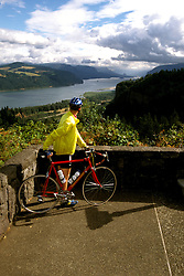 Oregon: Columbia River Gorge, Bicycling, Bicyclist, model released, Photo: orcolu105  .Photo copyright Lee Foster, 510/549-2202, lee@fostertravel.com, www.fostertravel.com